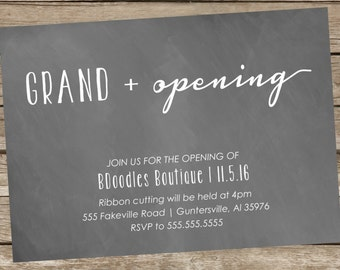 Printable Grand Opening or Open House Invitations, Personalized,  5x7, chalkboard