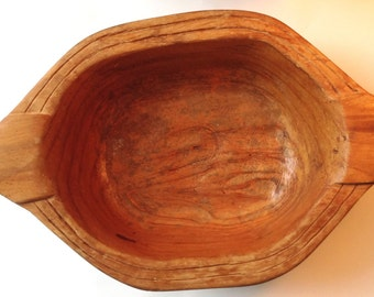 Vintage primitive hand carved wood bowl handmade folk art
