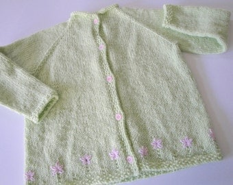 Girls School Cardigan, Pale Green with Pink Flowers, Hand Knit Cardigan Sweater, Size 5 6 7, Long Sleeves, Button Up