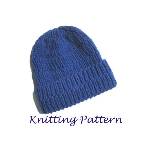 Knitting Pattern For Mens Ribbed Hat : Chunky Ribbed Hat PDF Knitting Pattern Easy Knit Beanie Hat