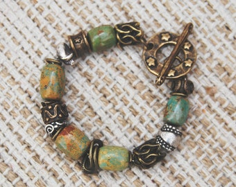 Bracelet with green/brown turquoise