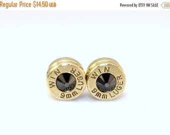 35% Off Bullets Bullet Casing Earrings. Black Onyx . Swarovski Crystal  9mm Luger