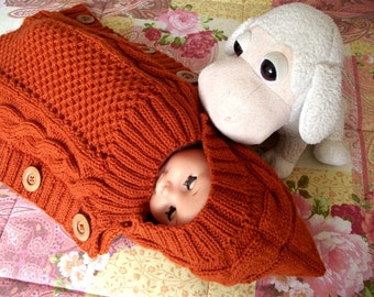 BABY COCOON Knitting Pattern - Sweet Snuggle Baby Cocoon pdf pattern Instant Download baby sleeping bag knit pattern