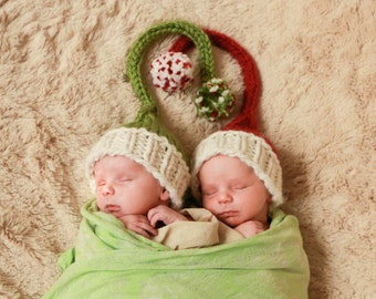 kids winter elf hat newborn, 6 months, or 12 months photo prop for baby girl or boy