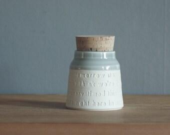 custom quote pet urn. WIDE shape funeral urn. human ashes urn or custom pet urn. White porcelain, dove grey. read item details