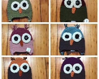 3-6 month crochet owl hat