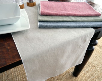 Table Runner- Linen Cotton Chambray Table Runner, Green, Blue, Red or Flax, Christmas Linens