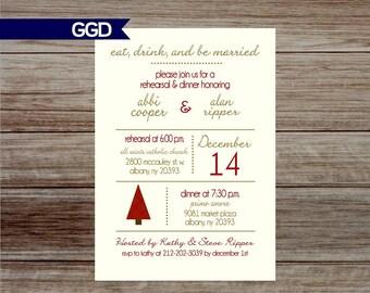 Christmas Rehearsal Dinner Invitation, december rehearsal dinner invite, rehearsal and dinner, wedding rehearsal dinner, red and gold