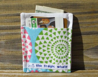 Card Sleeve, Minimalist Wallet, Canvas Wallet, Geometric Wallet, Pink and Green Wallet, One of a Kind