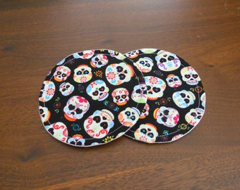 Fabric Coasters, Set of Two, Sugar Skulls, Pick Your Own Set Size