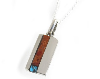 Vertical Bar Pendant Small - Petite Vertical Inlay Bar Pendant Necklace - Red Sponge Coral Inlay with Sleeping Beauty Turquoise Chip Inlay