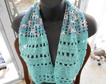 "Spring Summer ""Sea Glass"" is a Handmade Crochet Thread Dollie Scarf"