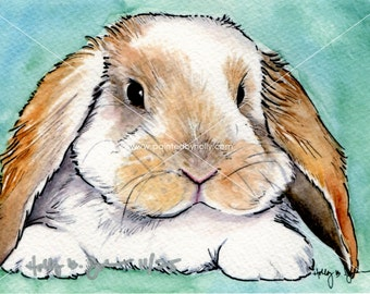 Long Eared Bunny Rabbit Art Print // Easter Decor // Rabbit Watercolor Painting