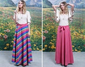 70s REVERSIBLE Maxi WRAP SKIRT 1970s Rainbow Striped Solid Pink High Waisted Tie Waist Wrap Around Skirt (small)