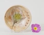 Pottery Bowl Ring Dish Botanical Plant Fossil Ceramic & Recycled Glass, Soap Dish Jewelry Bowl, Handmade Studio Pottery British UK