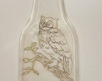 Hand etched owl on flattened beer bottle spoon rest