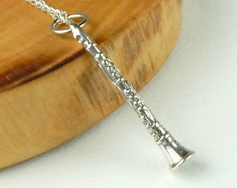 Clarinet Necklace Sterling Silver Charm
