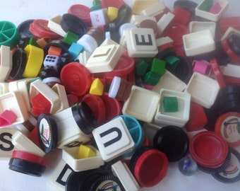 Sale One Pound of Vintage Game Pieces, Vintage Games, Vintage Crafting Supplies-Game Pieces Lot 1