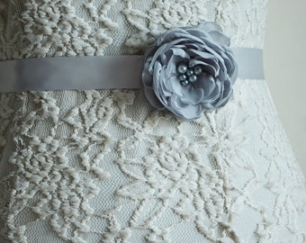 Gray Bridal Sash Belt, Flower Belt, Silver Wedding, Chiffon sash, Flower Belt, Bridesmaid Accessory, Flower Girl Headband, Tie Back belt