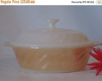 AUGUST SALE Vintage Anchor Hocking Fire King Lusterware Swirl Pattern 1 Quart Casserole Dish and Lid. Perfect Condtion.