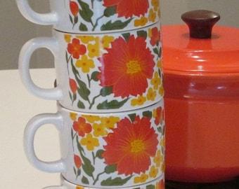 AUGUST SALE Stackable Orange Floral Coffee Mugs. Made in Japan