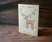 Happy Holidays // Deer // Hand Drawn Card // Christmas // Lights // Holiday Card // Winter