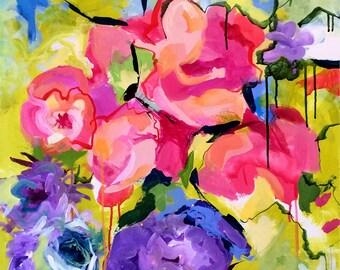 Wall Art Print, Art Print, Abstract Print, Modern Art Print, Pink, Floral, Flower Art, Abstract Painting, Wall Art, Wall Decor