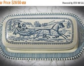 15% Off Sale Currier & Ives Butter Dish Royal China Horse Drawn Sleigh-1/4 Pound Butter