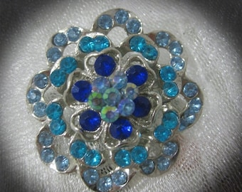 15% Off Sale Vintage Blue AB Rhinestone and Silver Tone Brooch-Gorgeous and Stunning