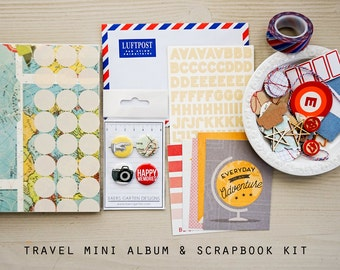 Travel Mini Album / Journal and Scrapbook Kit