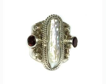 925 Sterling Silver Ring studded Faceted garnet ,  pearl gemstones handmade ring