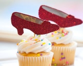 Wizard of Oz Party Ruby Slipper Cupcake Toppers, set of 18