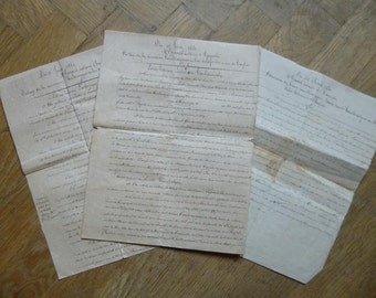Antique french Legal Letters x 3 1800s on Old Aged Paper Stunning Calligraphy LGF3