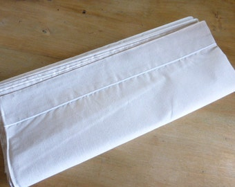 King Size Metis Linen Sheet Fleur Bleu French Unused w Satin Stitch Turnover Excellent Quality