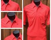 Vintage - 1980s Men's Red & White POLKA DOT - Short Sleeve Shirt - XL