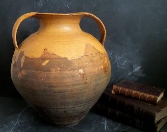 Large Vintage French Pottery. Antique Pot. Jar.French Provencial.French Country Decor.French Country Kitchen