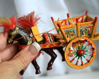 Miniature Antique Ornate Toy Circus Wagon/Horse, Made in Italy, Hand Painted Wagon.