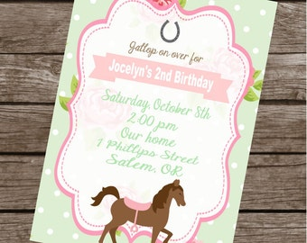 SHABBY CHIC HORSE Happy Birthday Party or Baby Shower Invitations Set of 12 {1 Dozen}