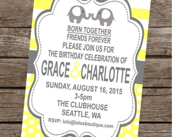SWEET ELEPHANT TWINS Happy Birthday Party or Baby Shower Invitations Set of 12 {1 Dozen} Yellow Grey - Party Packs Available