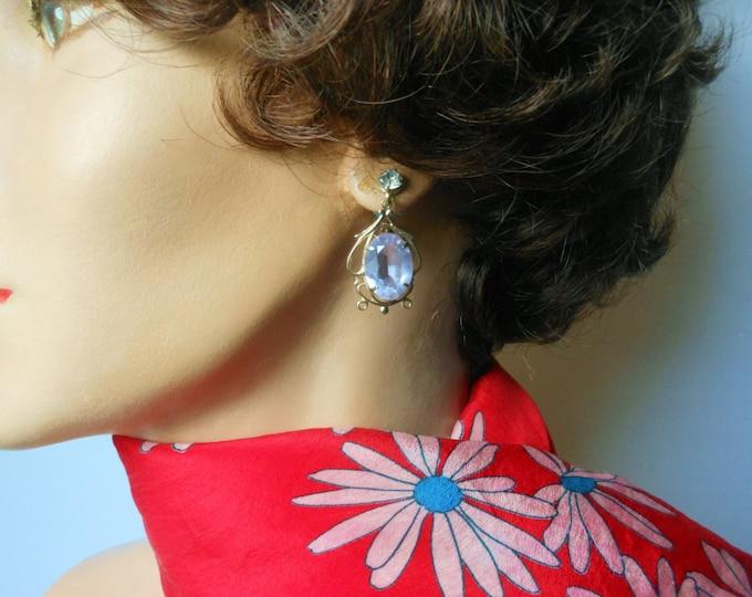 Blue glass earrings, cornflower blue faceted glass dangle earrings, light gold scrolled frame, blue rhinestone on the screw back front