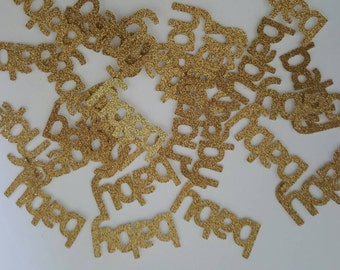 25 BABY scrapbooking party confetti / cuts gold glitter baby shower table decoration