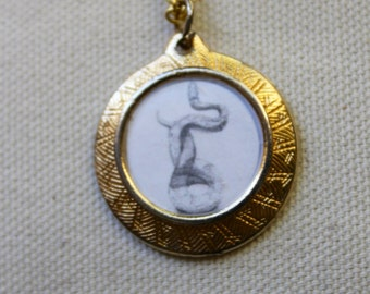 Snake Locket Necklace hand-drawn