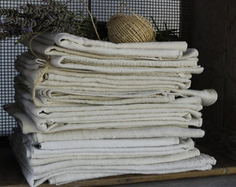 FOUR Vintage French Linen Work Cloths...Various Sizes in Each Lot of FOUR...Hand Sewn and Patched...Clean and Ready to Use...Cooks Gift.