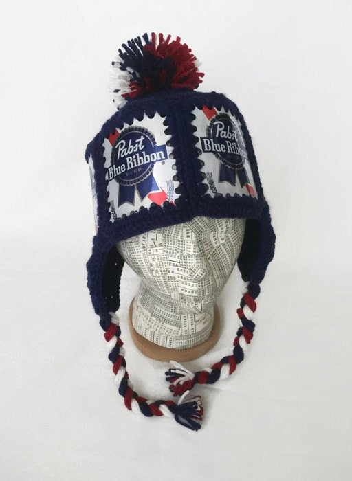 75831e60e36 ... Pom   PBR Winter Ski Hat. Pabst Hat   PBR Hat   Pabst Crochet Beer Can  Hat   PBR Beer Can Hat