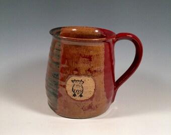 Pottery Mug -  Ceramic Coffee Cup - 16 oz - Ready to Ship - Red Jasper  - Owl Stamp  - ceramics - pottery - stoneware