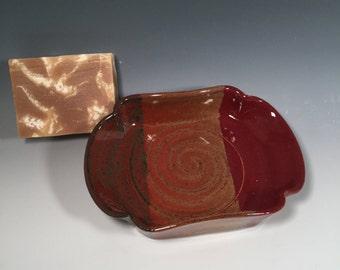 Scalloped Pottery Soap Dish - Red Jasper - Handmade soap dish - bathroom decor - housewarming - ceramics - pottery - stoneware
