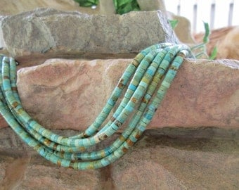 "8"" Natural Turquoise Light Blue Green Heishi Bead 4MM Beads"