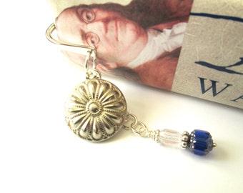 Vintage flower BUTTON BOOKMARK, Silver button & bookmark