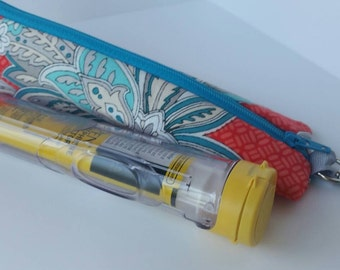 Epi pen storage bag carrier with swivel clip- Aqua and coral flowers