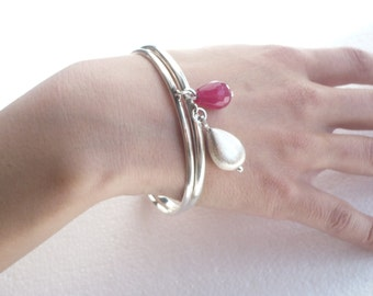 Sterling silver bangles with pink jade